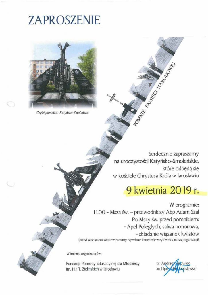 Plakat uroczystości katyńsko - smoleńskich w Jarosławiu